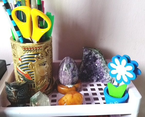 various crystals on my desk - esther neela blog
